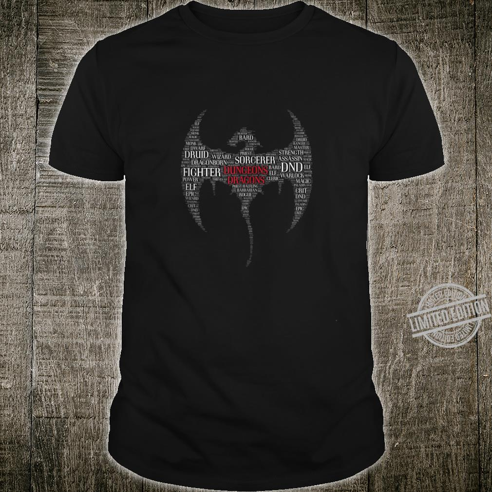 Dragon Dungeon Words D20 Tabletop Role Playing Game RPG Shirt