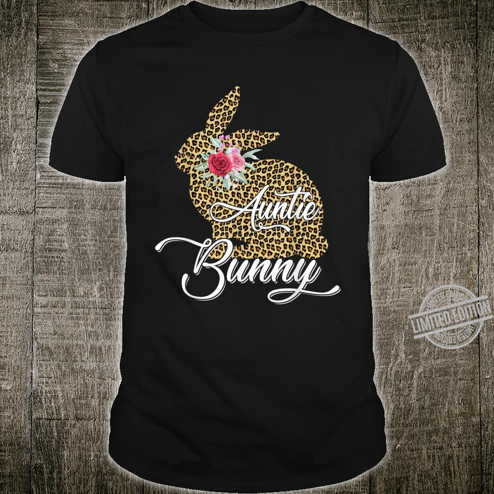 Easter Cute for Her Mom Girls Wife Leopard Auntie Bunny Shirt