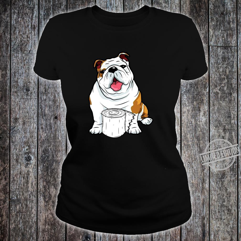English Bulldog Toilet Paper Shortage Virus Flu Panic 2020 Shirt ladies tee