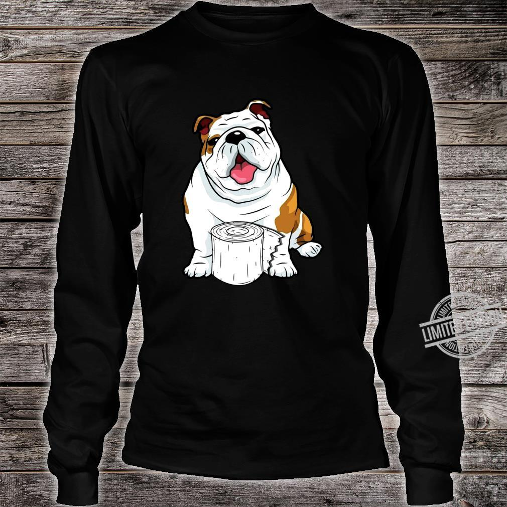 English Bulldog Toilet Paper Shortage Virus Flu Panic 2020 Shirt long sleeved