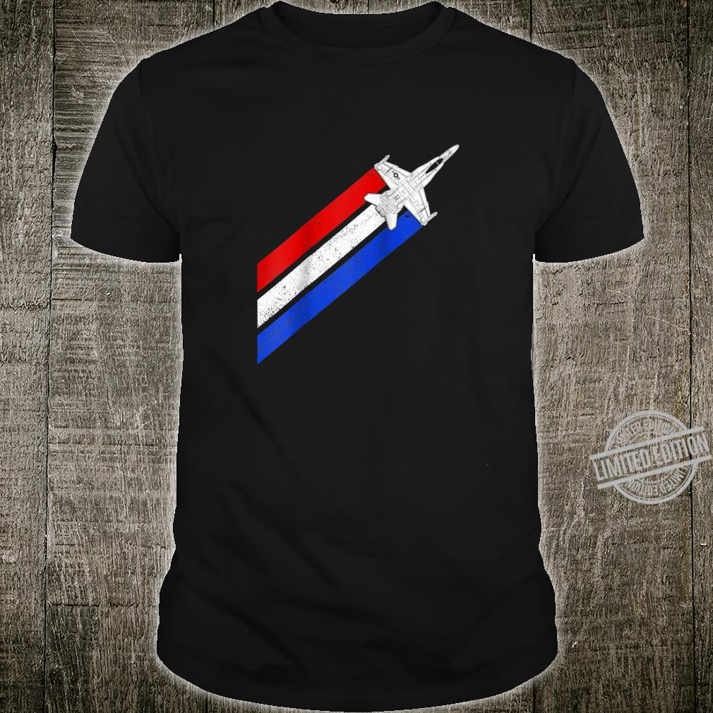 F18 Hornet Airplane Schematic Vintage Stripes American Flag Shirt
