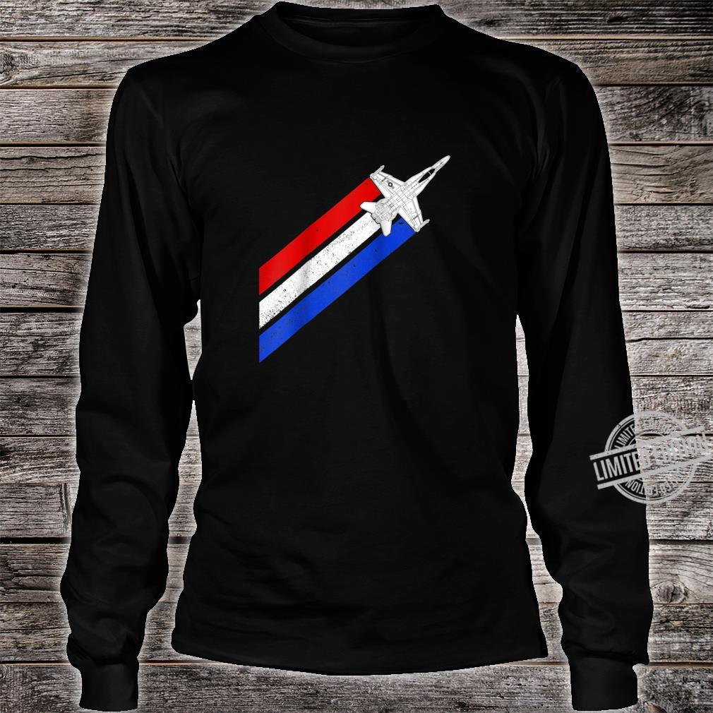F18 Hornet Airplane Schematic Vintage Stripes American Flag Shirt long sleeved