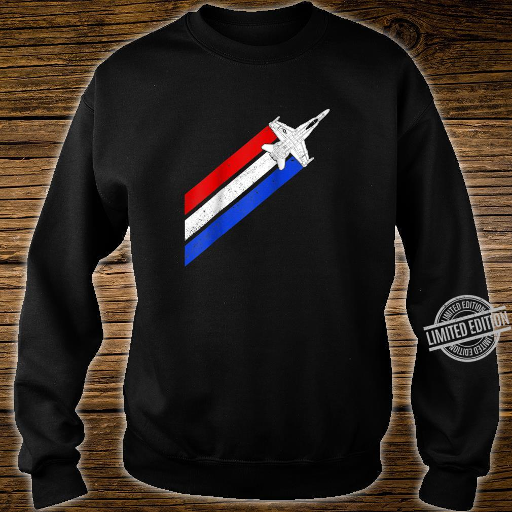 F18 Hornet Airplane Schematic Vintage Stripes American Flag Shirt sweater