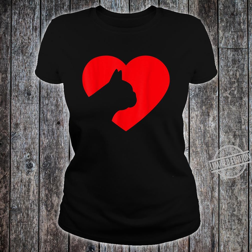 French Bulldog Heart Dog Love Shirt ladies tee