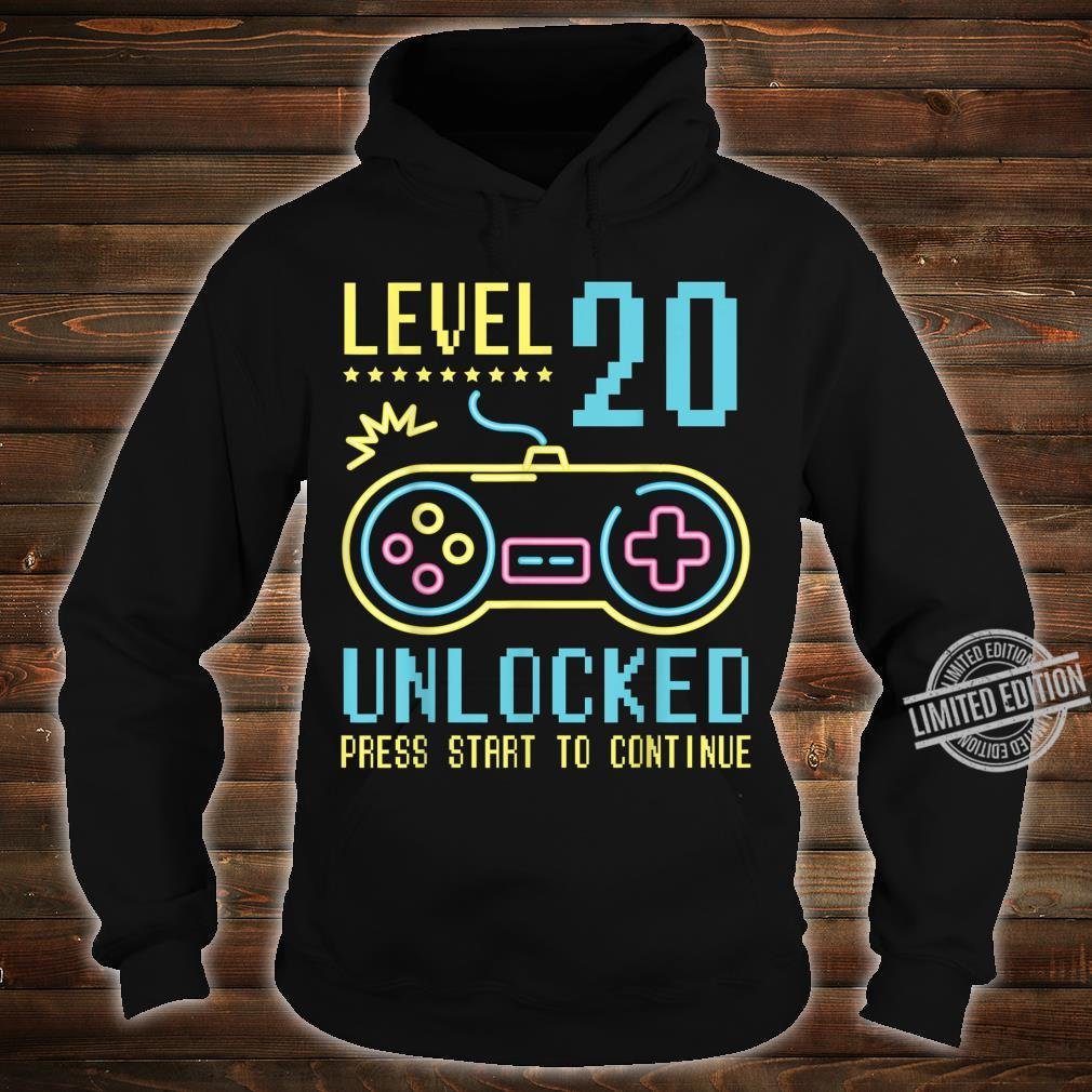 Gamer Level 20 Years Old Unlocked Press Star To Continue Shirt hoodie