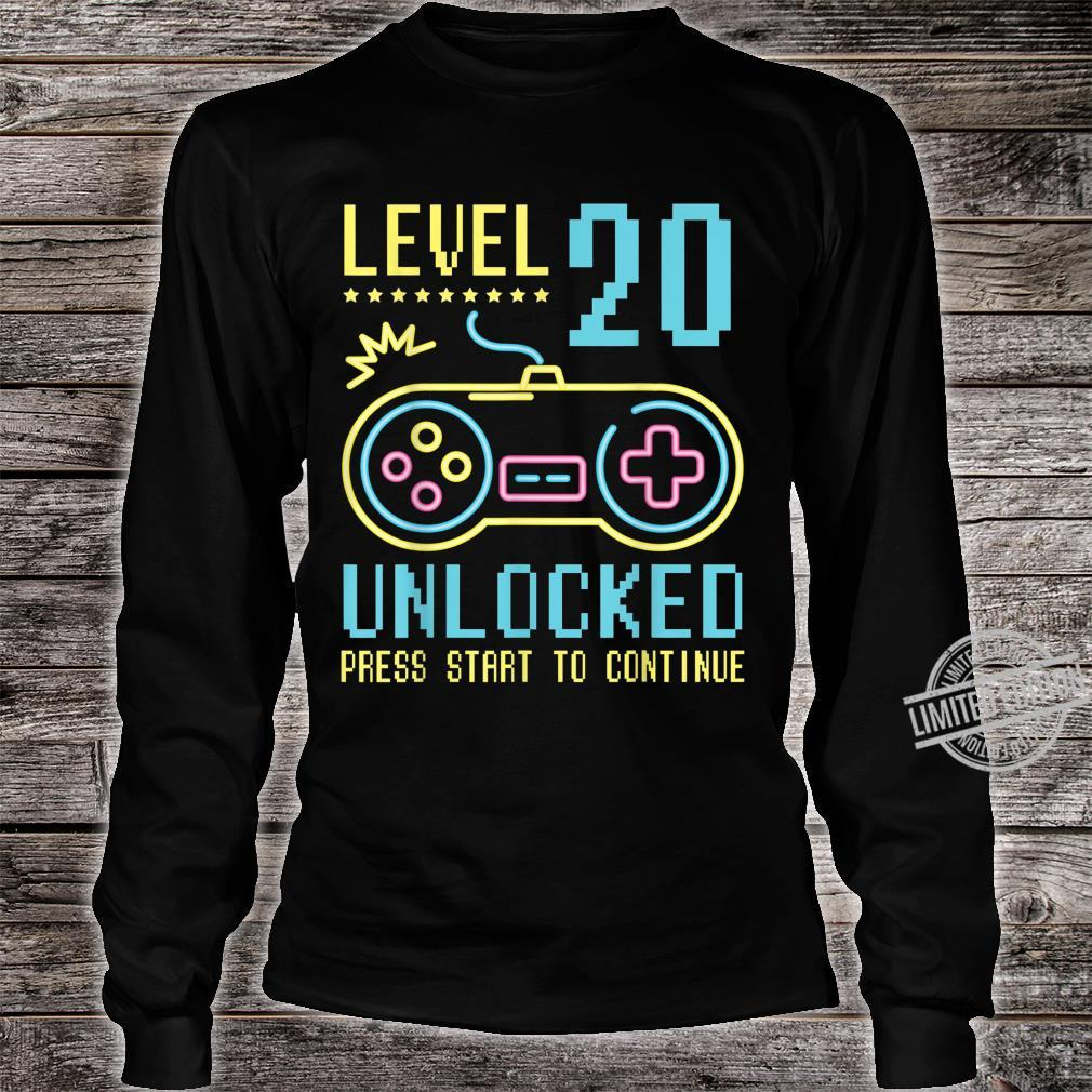 Gamer Level 20 Years Old Unlocked Press Star To Continue Shirt long sleeved