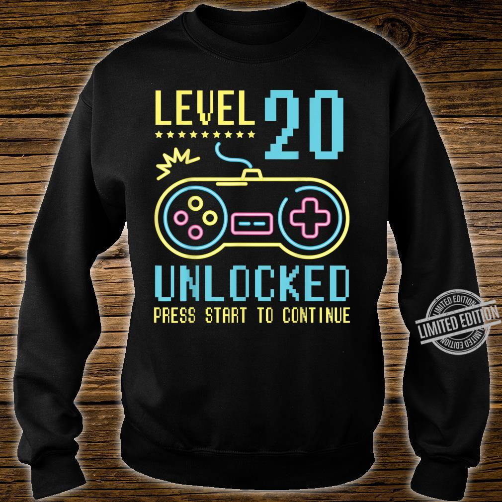Gamer Level 20 Years Old Unlocked Press Star To Continue Shirt sweater