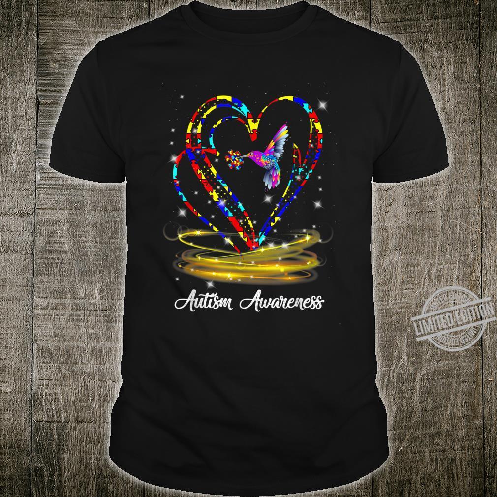 Hummingbird Ribbon Puzzle Heart Autism Awareness Shirt