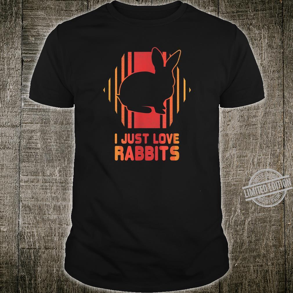 I Just Love Rabbits Retro 80s EDM Techno Rave Shirt