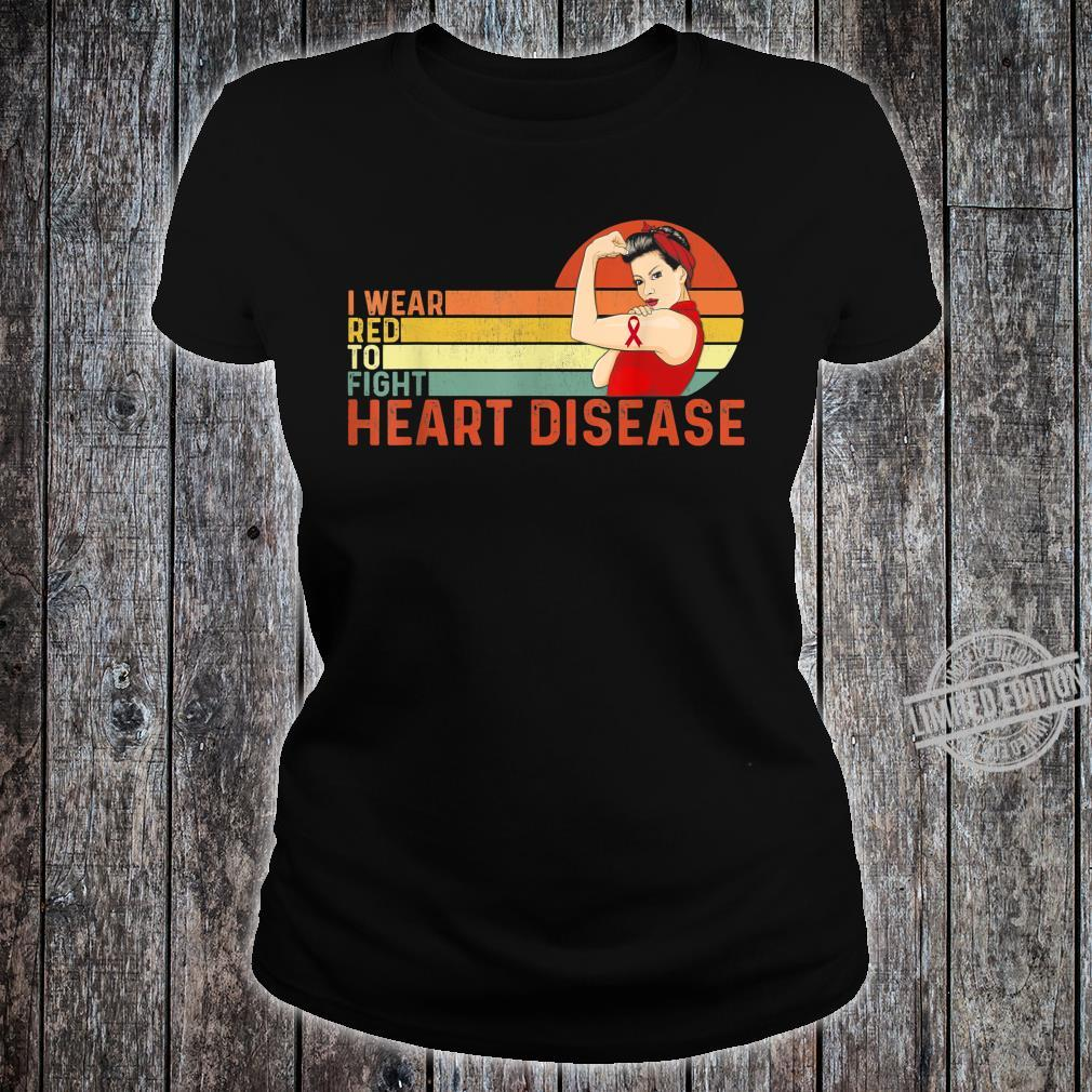I Wear Red To Fight Heart Disease Awareness CHD Vintage Shirt ladies tee