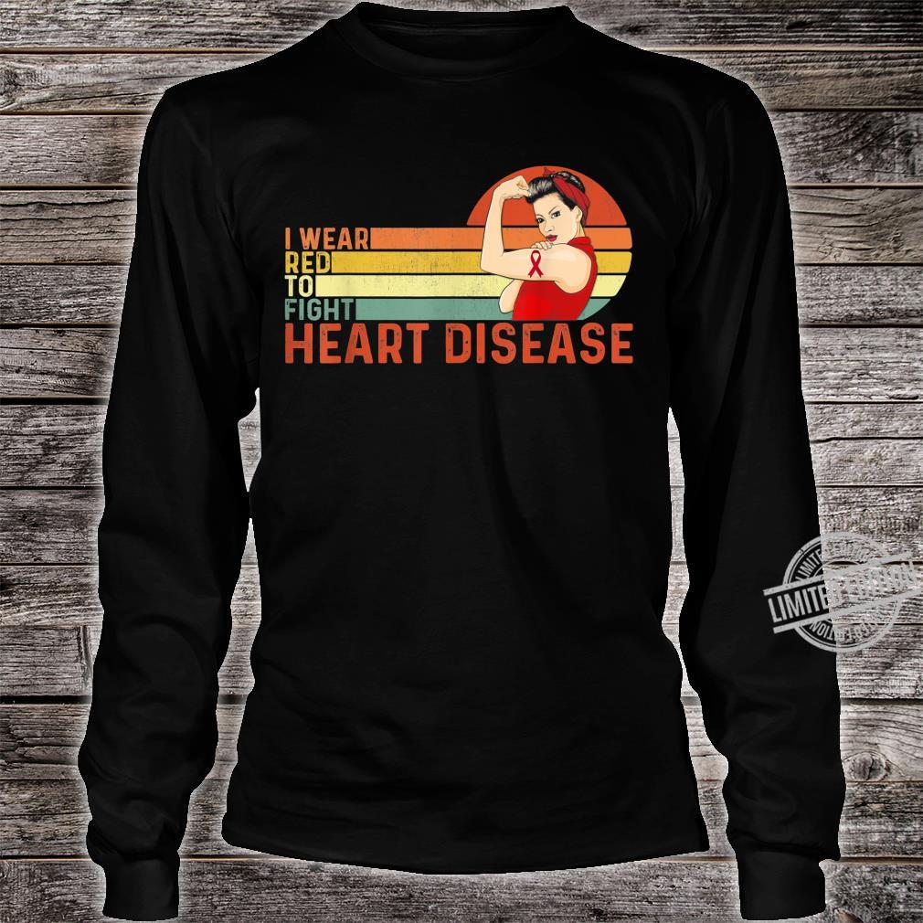 I Wear Red To Fight Heart Disease Awareness CHD Vintage Shirt long sleeved