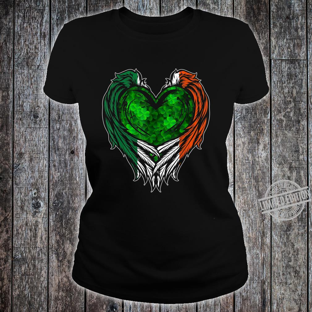 Irish Wings Shamrock Heart Ireland St. Patricks Day Shirt ladies tee