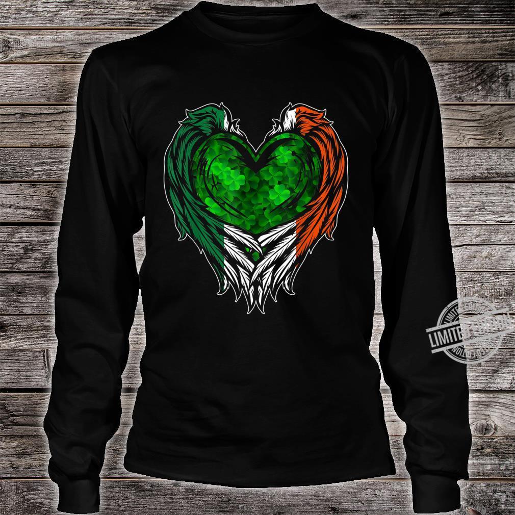 Irish Wings Shamrock Heart Ireland St. Patricks Day Shirt long sleeved