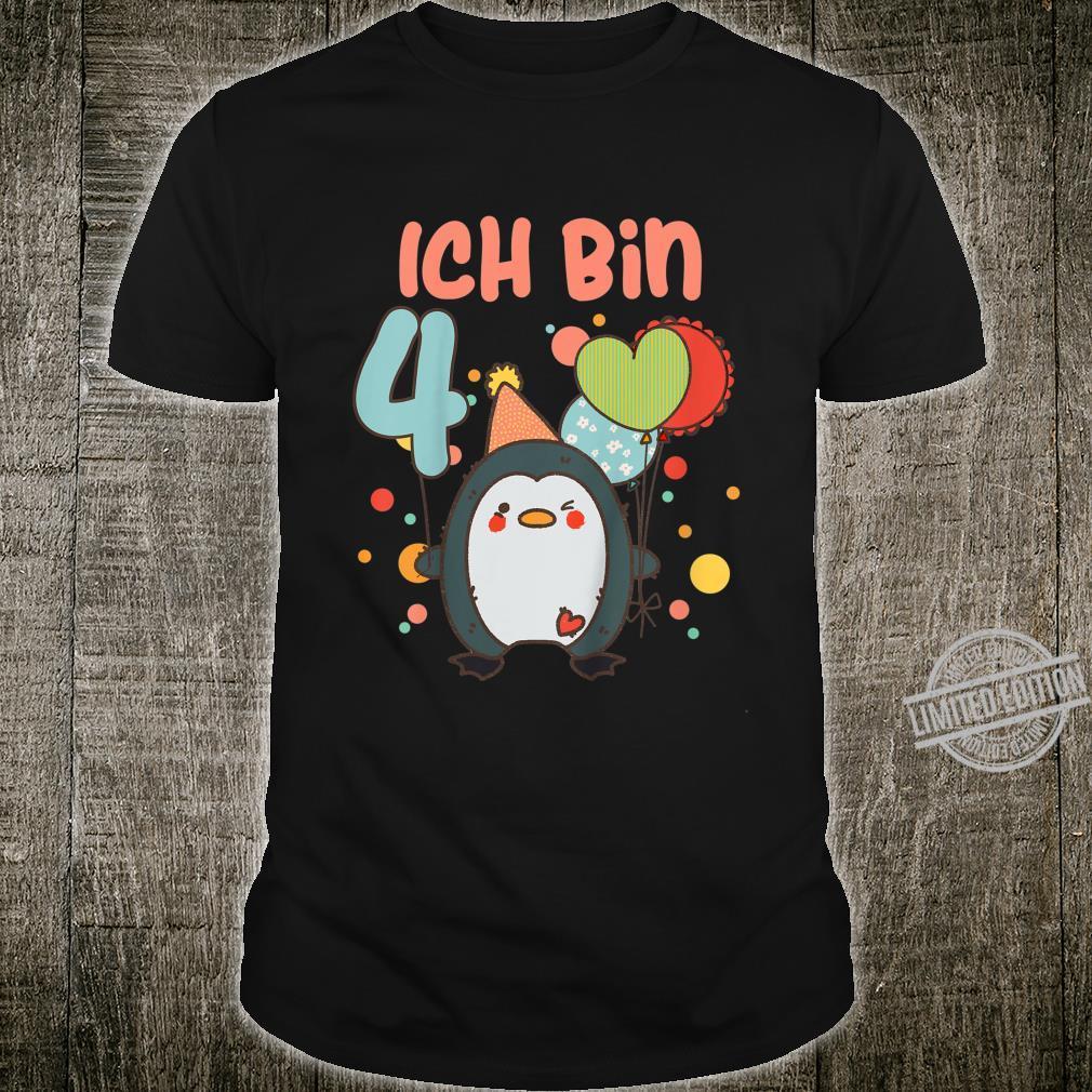 Kinder Pinguin Geburtstagsshirt 4 Jahre Kinder 4. Geburtstag Shirt