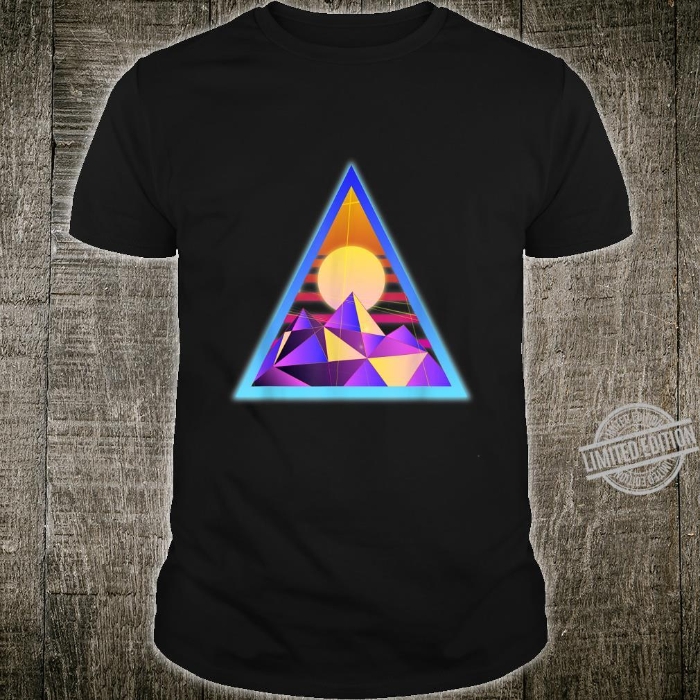 Psychedelics design with mountains, sun in triangle frame Shirt