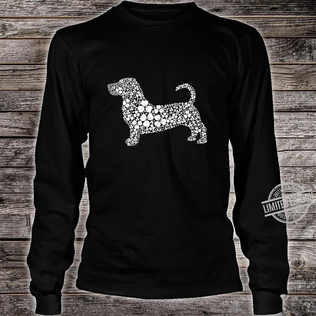 Womens Basset Hound Patrick LuckyClover Shamrock Irish Leaf Shirt long sleeved