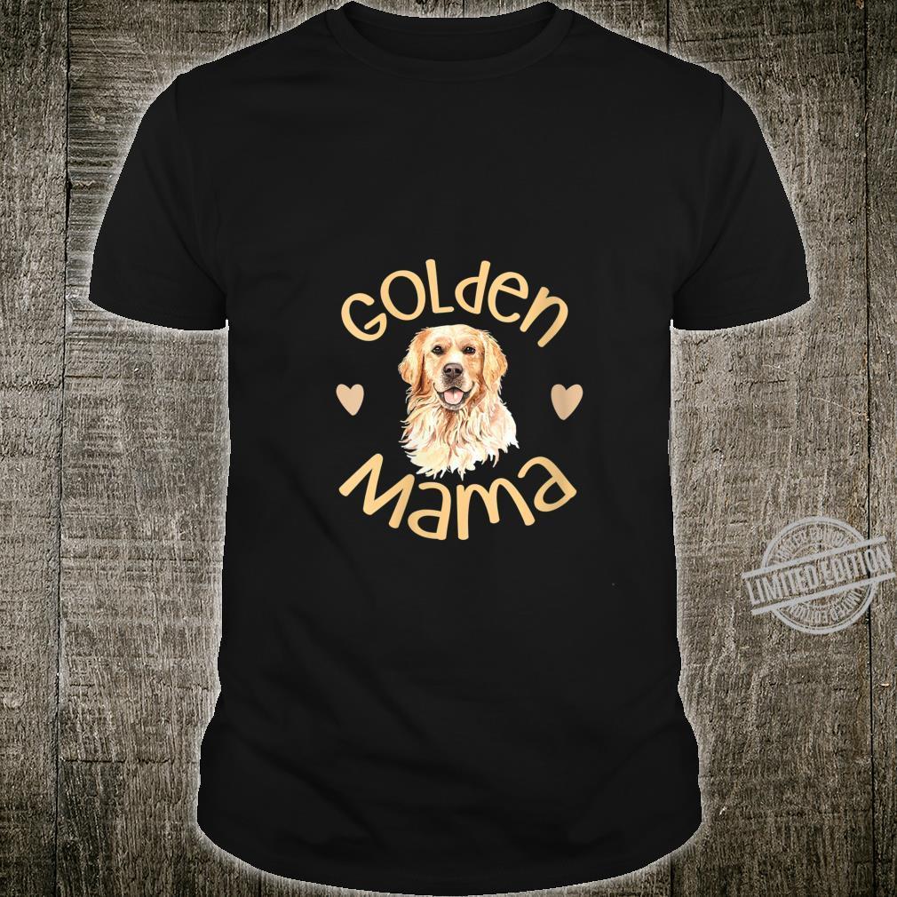 Womens Golden Mama Cute Golden Retriever Dog Mom Pet Shirt