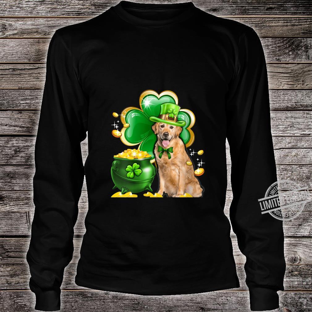 Womens Golden Retriever Dog Shamrock St Patricks Day Dog Irish Shirt long sleeved