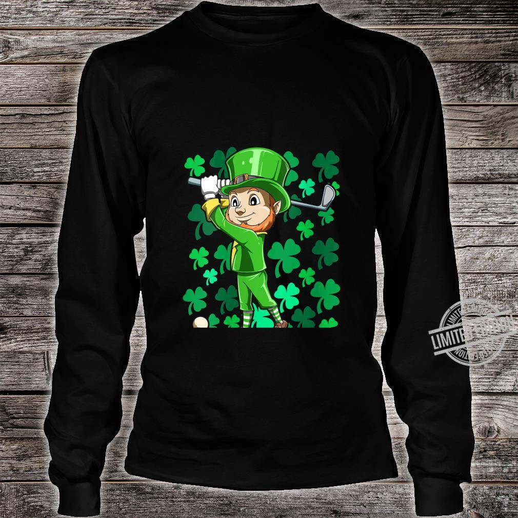 Womens Golf Leprechaun Playing Golf Irish Golfers St Patrick's Day Shirt long sleeved