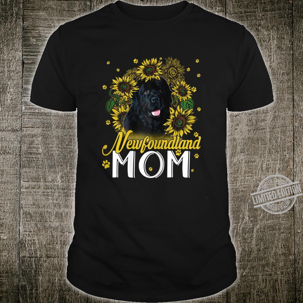 Womens Sunflower Newfoundland Mom Dogs Shirt